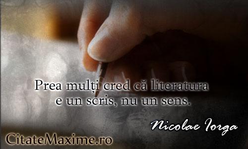 citate despre literatura Prea mulți cred că literatura e un scris, nu un sens. – Citate Maxime citate despre literatura